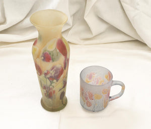 Two Pieces of Rueven by Nouveau Art Glass Vase and Demitasse Child's Cup