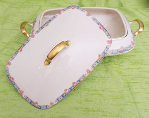 Large Antique Covered Casserole with Gilded Trim by Carrollton China (Carrollton Pottery Company)