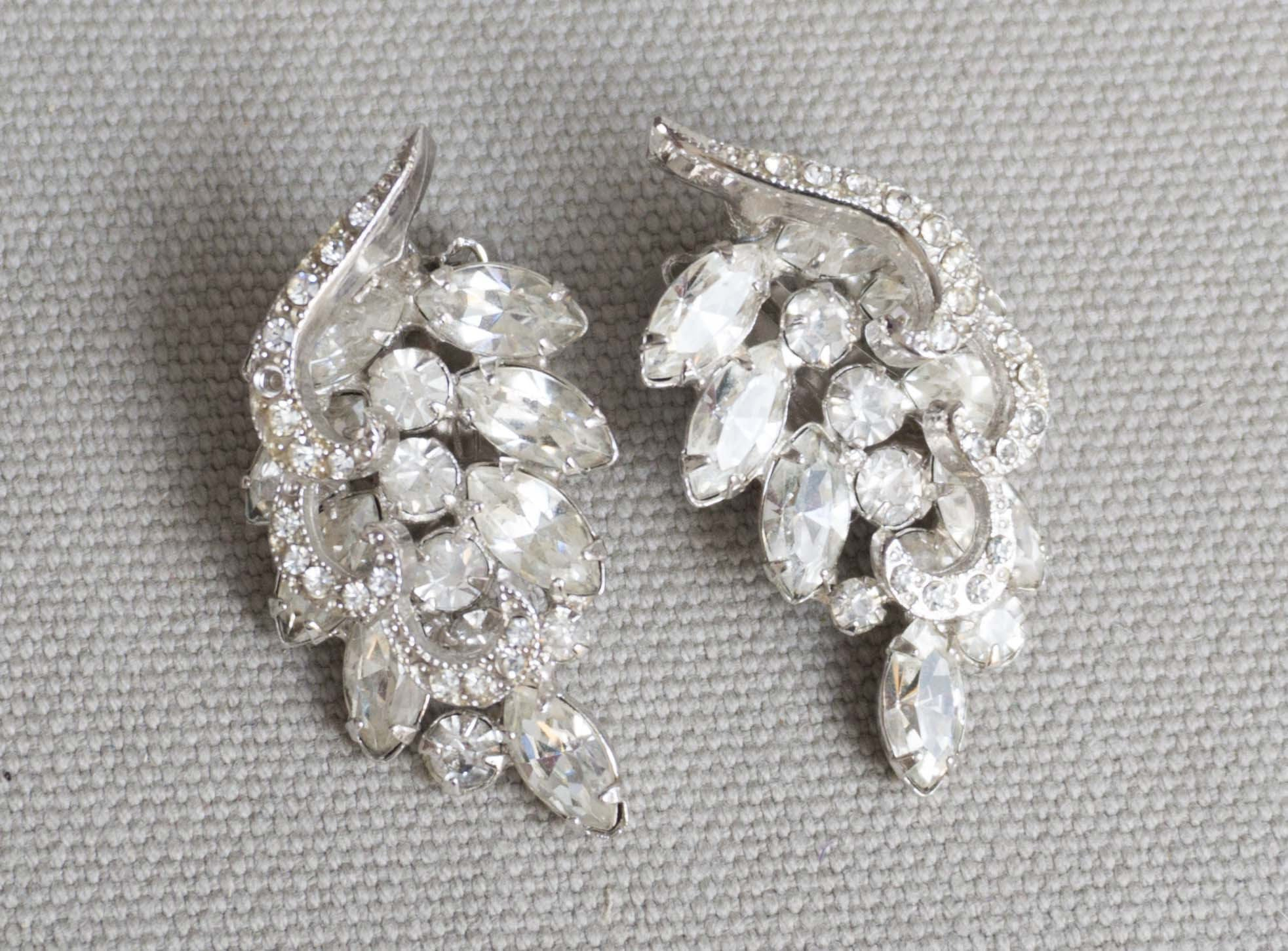 Vintage Signed Weiss Formal Rhinestone Clip Earrings With Icing