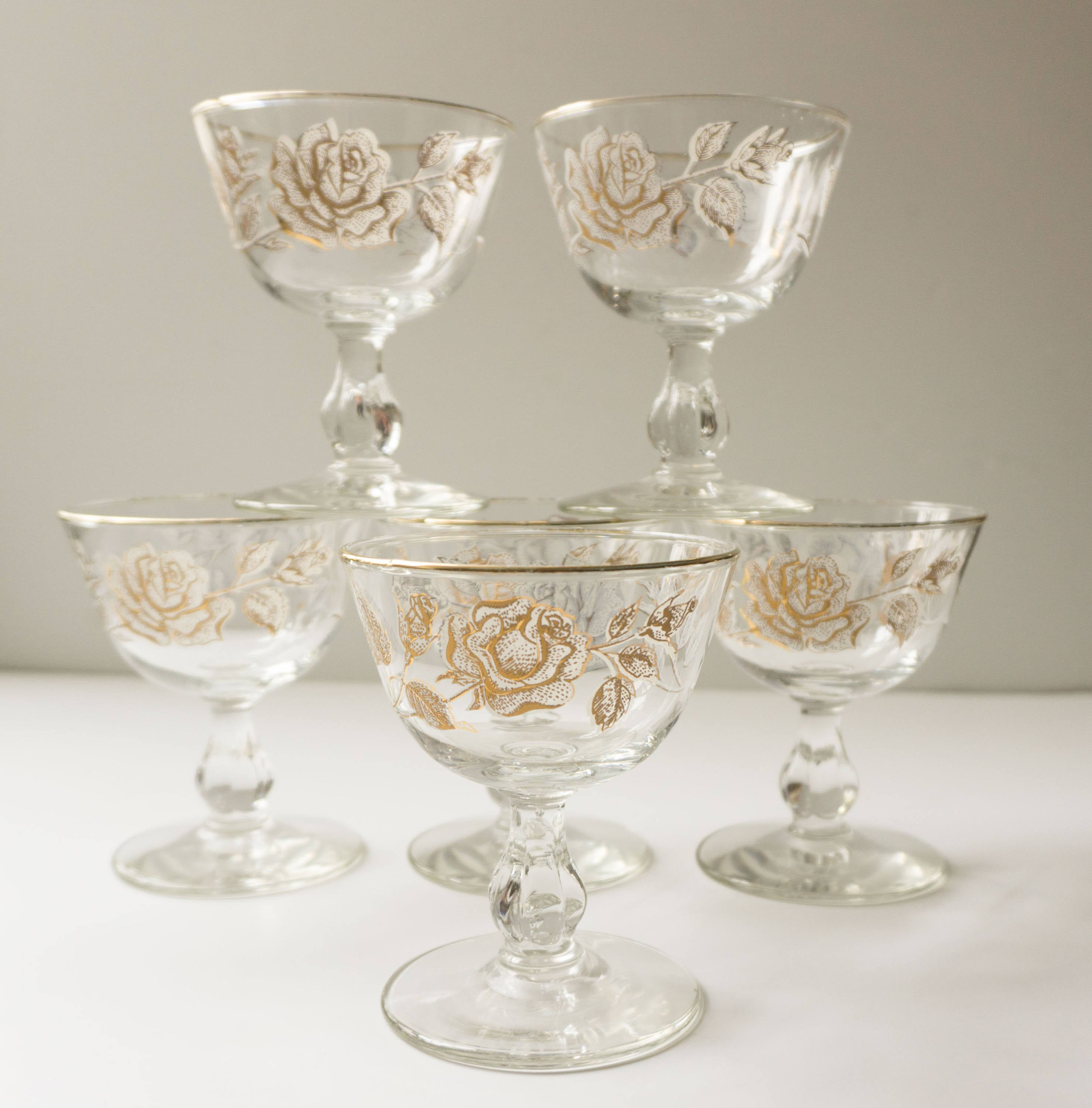 FIVE Champagne - Tall Sherbet Glasses in Rose Bouquet by Libbey Glass Company c.1963