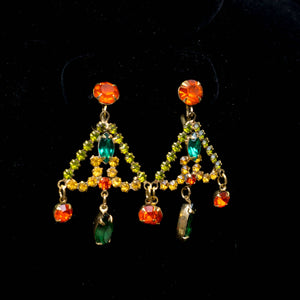 Vintage Signed Weiss Gypsy Chandelier Orange Green and Amber Rhinestone Screw Back Earrings