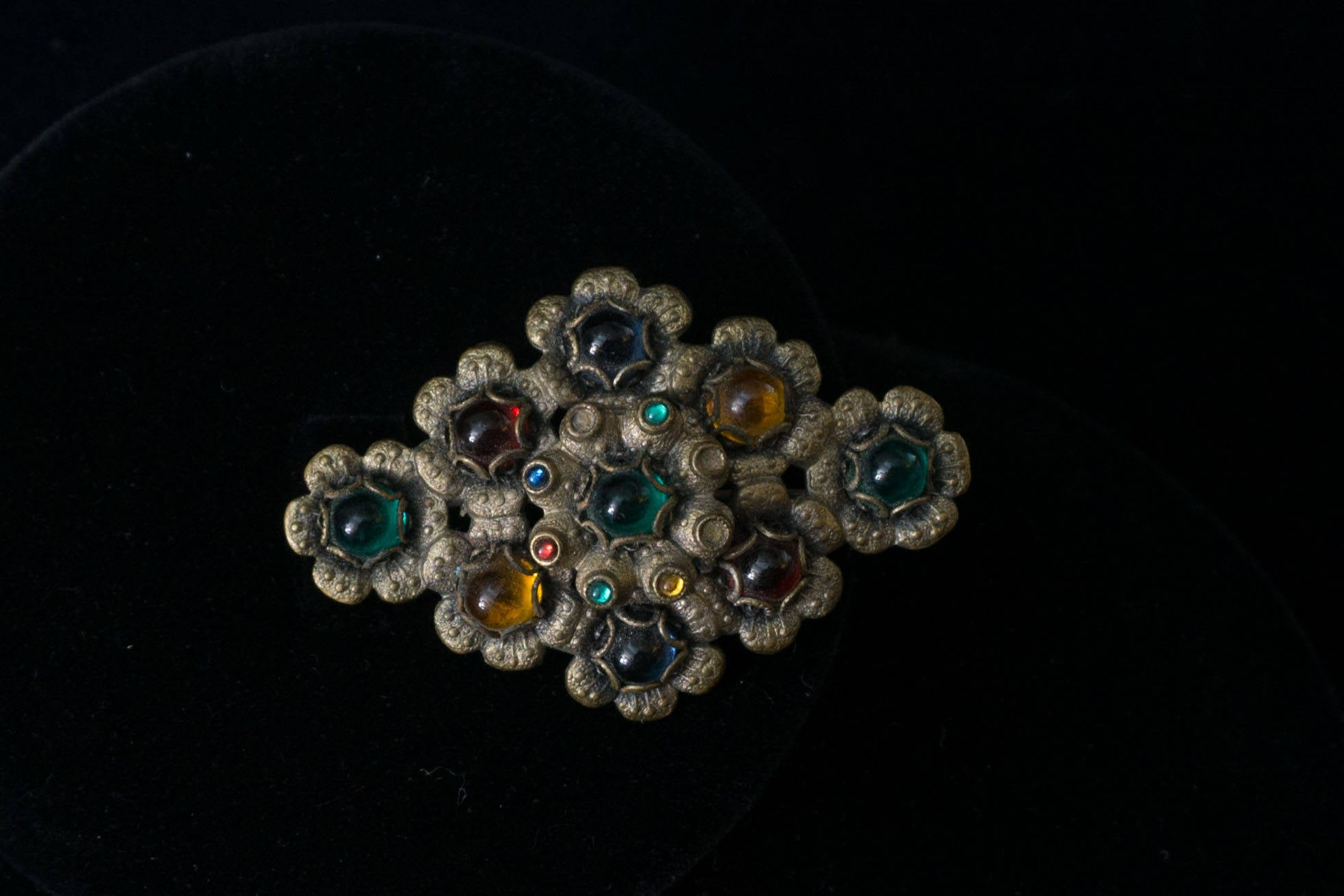 Very Early Vintage Collar Sash Pin Glass Cabachon and Brass Brooch