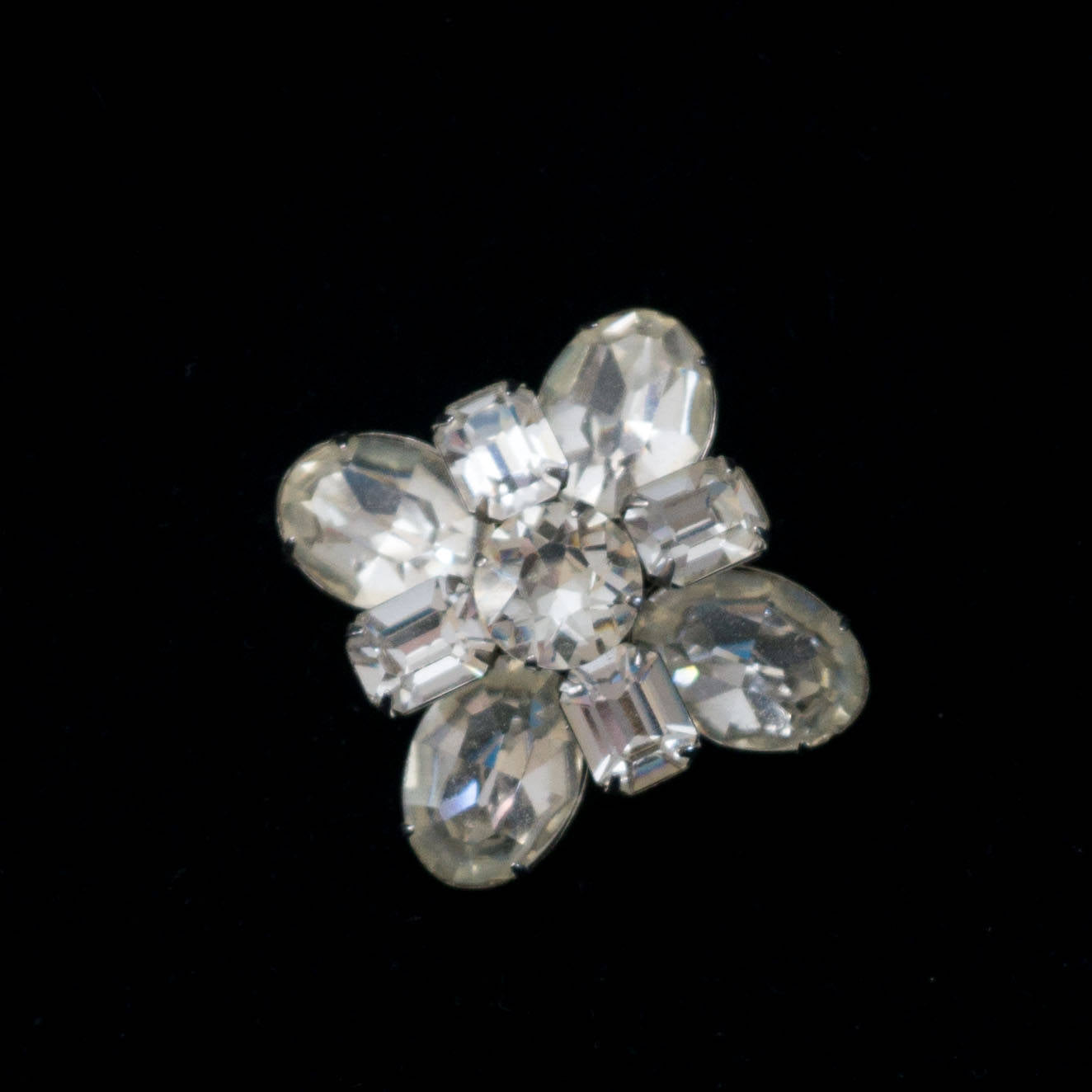 Large Clear Rhinestone Signed Kramer of New York Vintage Cluster Brooch