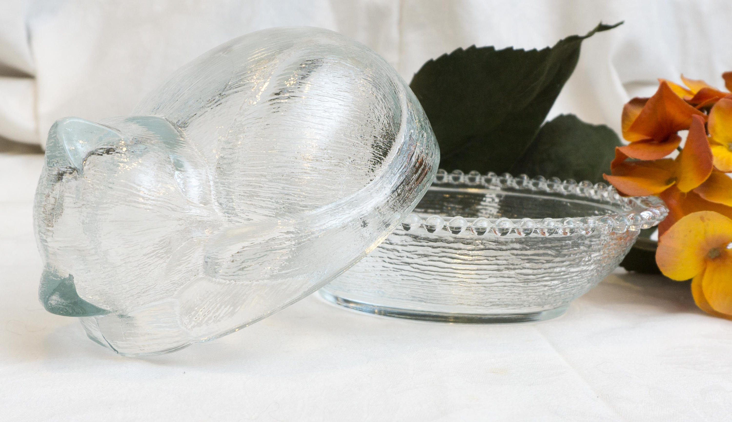 Vintage Clear Indiana Glass Kitten on a Nest Candy Box Dish