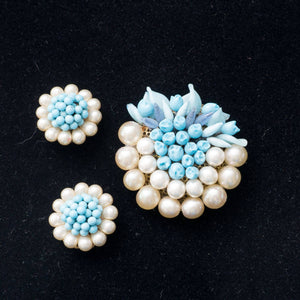 Vintage French Louis Rousselet Lampwork Blue Glass Beads and Pearls Brooch and Earring Set
