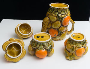 Thirteen Pieces 1960s INARCO Orange Spice Coffee Pot / Mugs / Salt Pepper / Syrup /  Cookie Jar