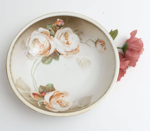 "Vintage 9"" Vegetable Serving Bowl Silesia R&S Tillowitz in White Rose Hand Painted 1920-1940"