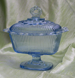 Vintage Footed Candy Box and Lid Lace Edge Horizon Blue by INDIANA GLASS