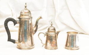 Three Vintage Pieces of Silverplate - Coffee Pot, Creamer Pot, and Sugar (No Lid)