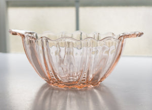 "6"" Handled Bon Bon Oyster and Pearl Pink Depression Glass by ANCHOR HOCKING c1930s"