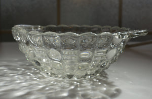 "SET of FOUR Vintage 7"" Handled Bon Bon Mayflower Clear by INDIANA GLASS ca 1935"