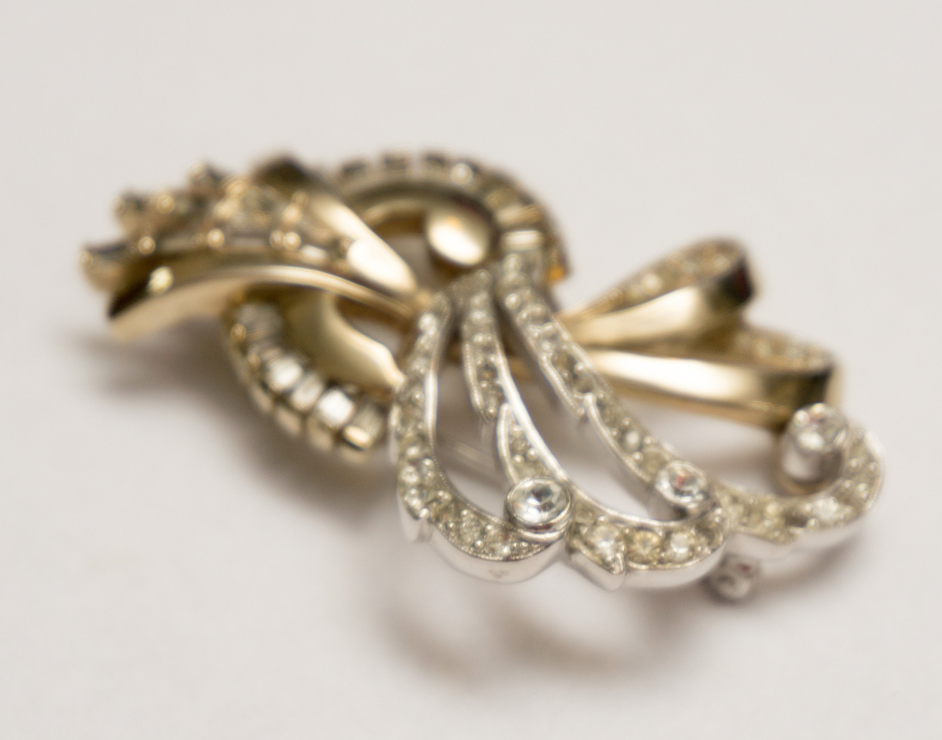 Grand and Formal Vintage Silver Gold Rhinestone Brooch