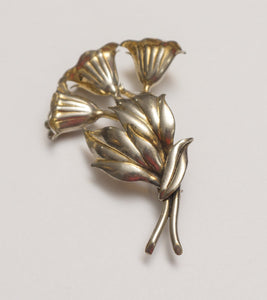 Lawrence Martin Kling Large Sterling and Vermeil Flower Brooch Pin