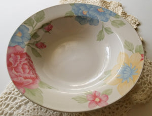 Colorful Feminine Flowery Pink Striped Prima Rosa by Tienshan Stoneware Soup Bowl
