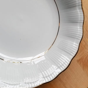 Vintage China Empire (Ribbed) by Walbrzych Salad Plates and Coupe Soup Bowls ca 1950's