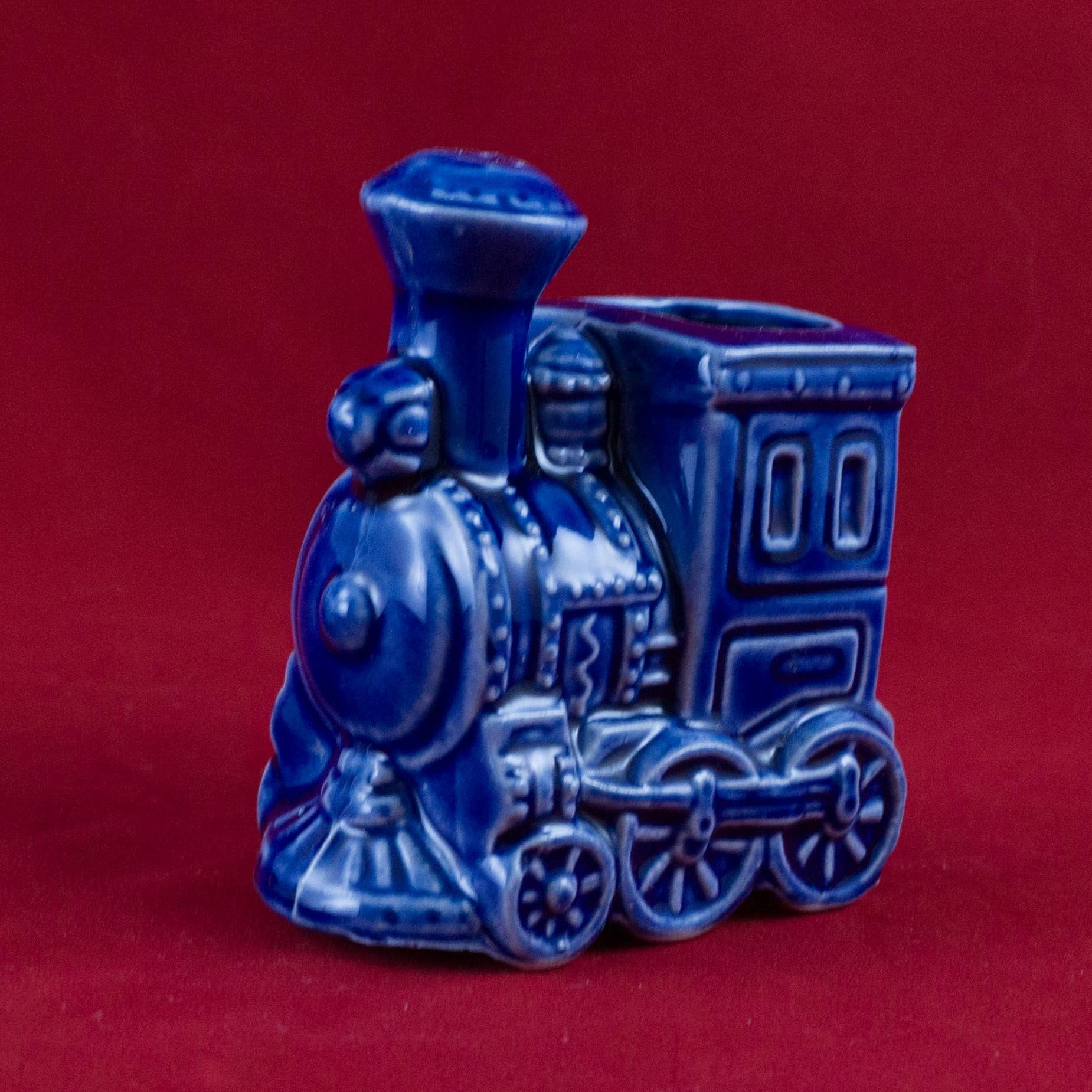 Cute Vintage Ceramic Steam Engine Toothpick Holder Cobalt Blue