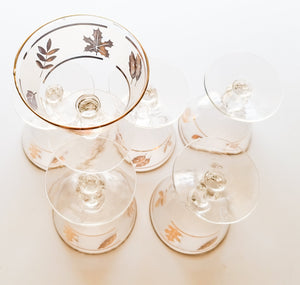SET OF SIX Vintage Mid Century Libbey Golden Foliage Foil Frosted Champagne Tall Sherbet