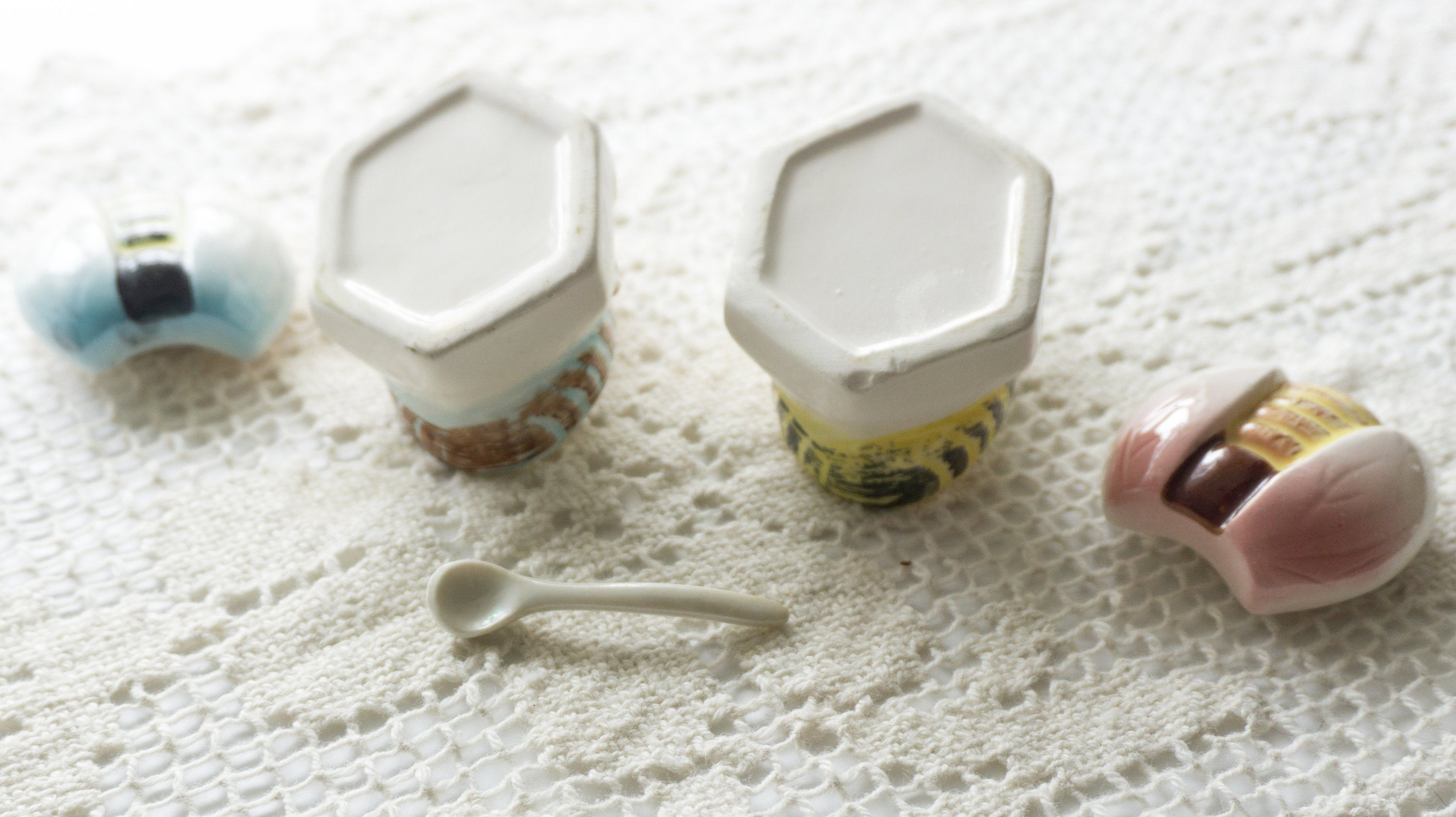 Vintage Ceramic  Honey Bee Salt Wells Dips with Spoon