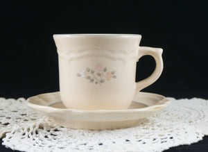 FIVE Pfaltzgraff Remembrance Pattern Flat Cup and Saucer Discontinued