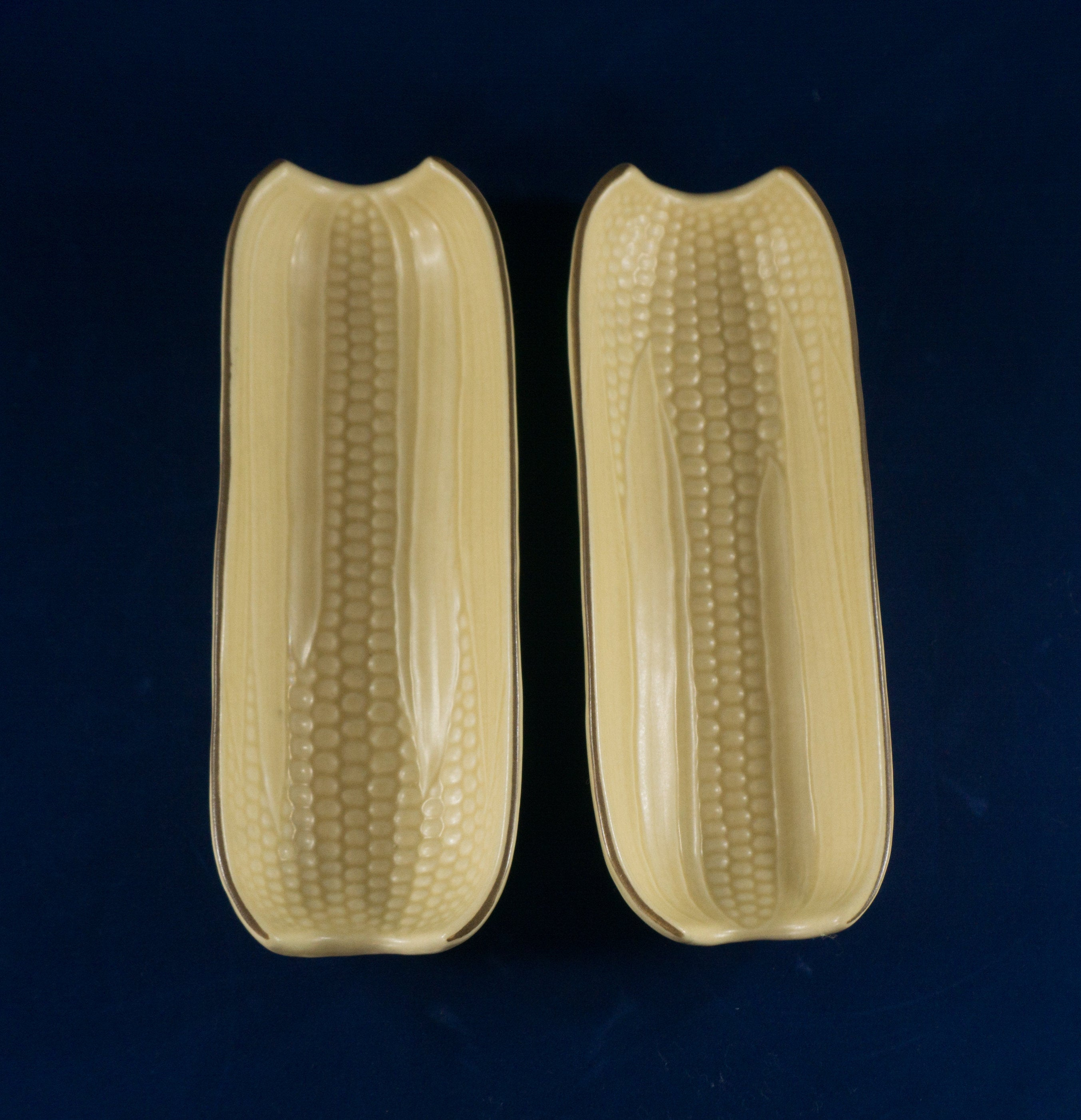 TWO Vintage Boiled Corn Holder in Village (Made in USA) by Pfaltzgraff
