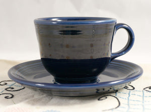 THREE Vintage Flat Cup & Saucer Set Fiesta Cobalt Blue (Newer) by HOMER LAUGHLIN