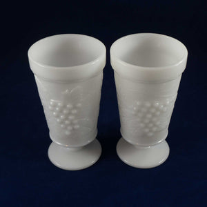 Two Vintage White Milk Glass Footed Water Glasses with Grapes and Leaves