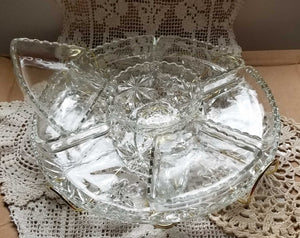 Enormous Mid Century Modern Lazy Susan Serving Set in Prescut Clear by Anchor Hocking