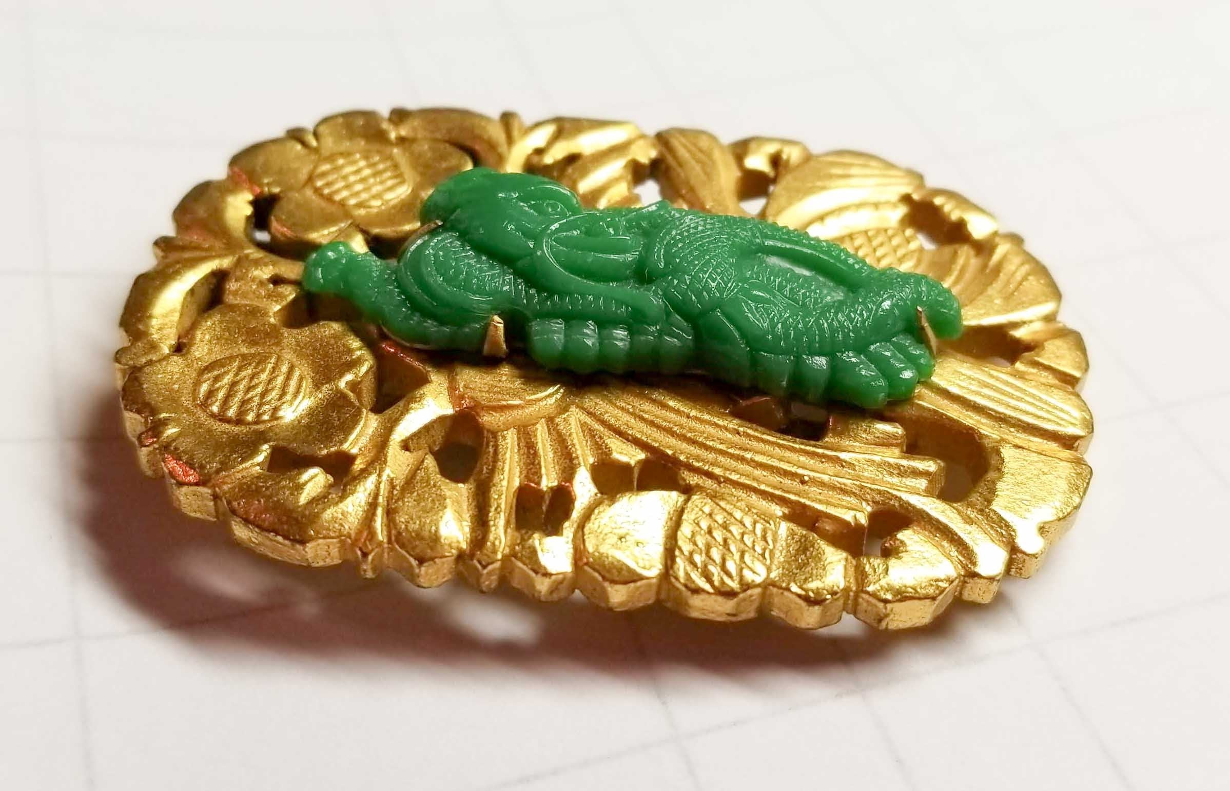 Fabulous Vintage Ben Meltzer NYC Dragon Serpent Flower  Dress Clip Brooch