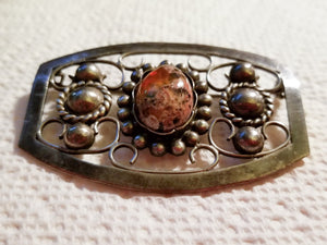 Vintage Carmen Beckmann Taxco Silver Sterling Brooch with Agate Feature Stone 1940s