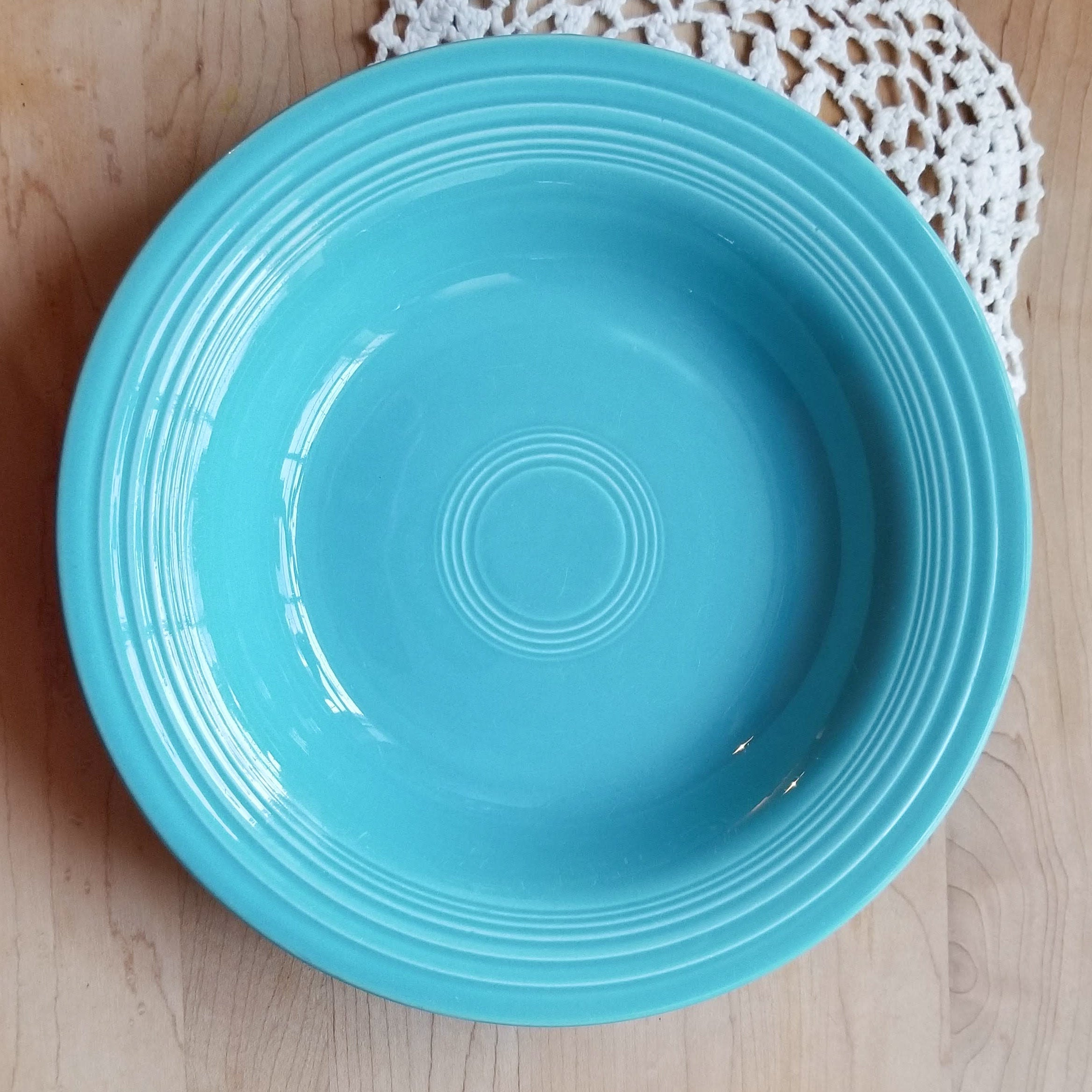 Discontinued Original Rim Soup Bowl and Salt Shaker in Fiesta Turquoise (Older) by HOMER LAUGHLIN