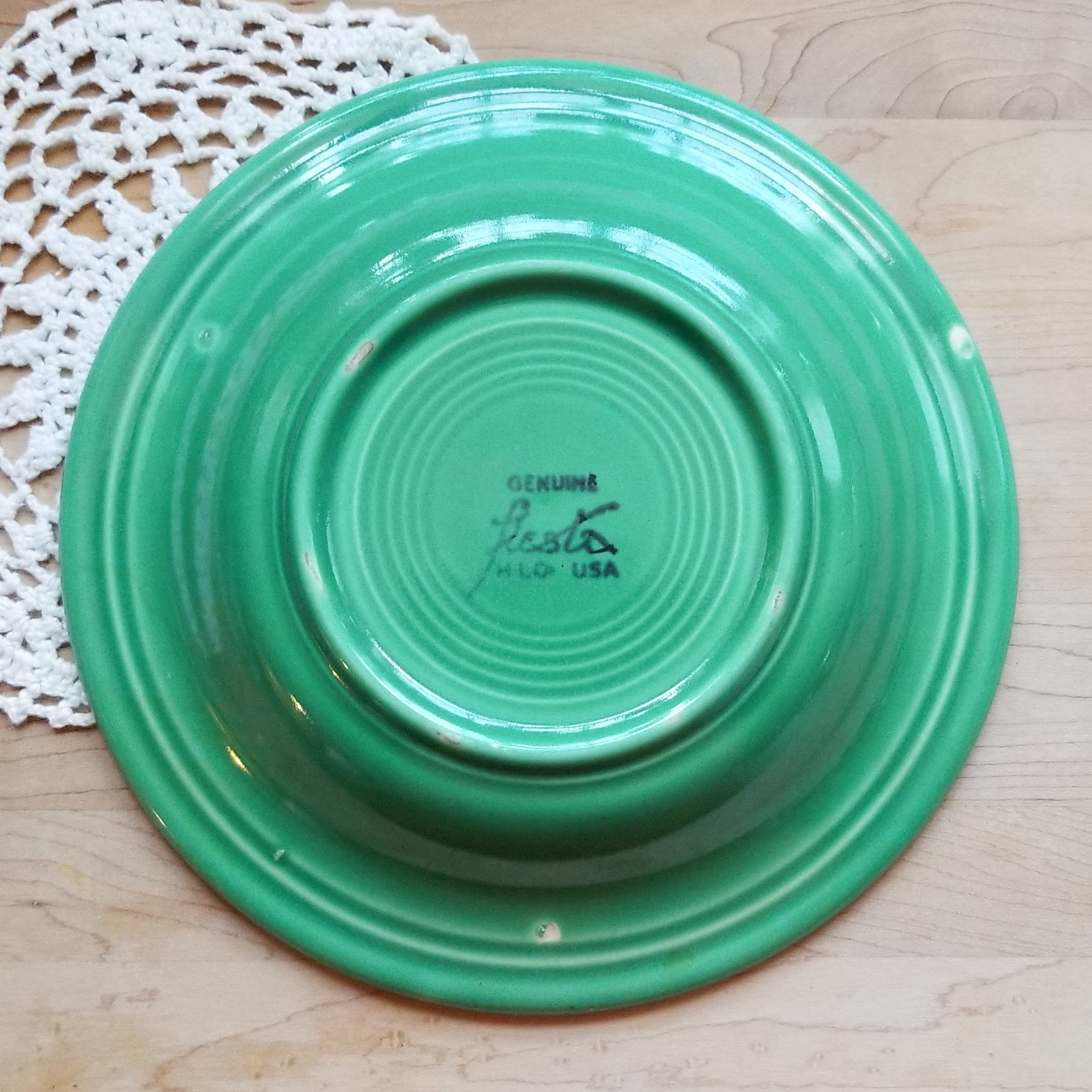 ONE Discontinued Original Rim Soup Bowl in Fiesta Light Green (Older) by HOMER LAUGHLIN