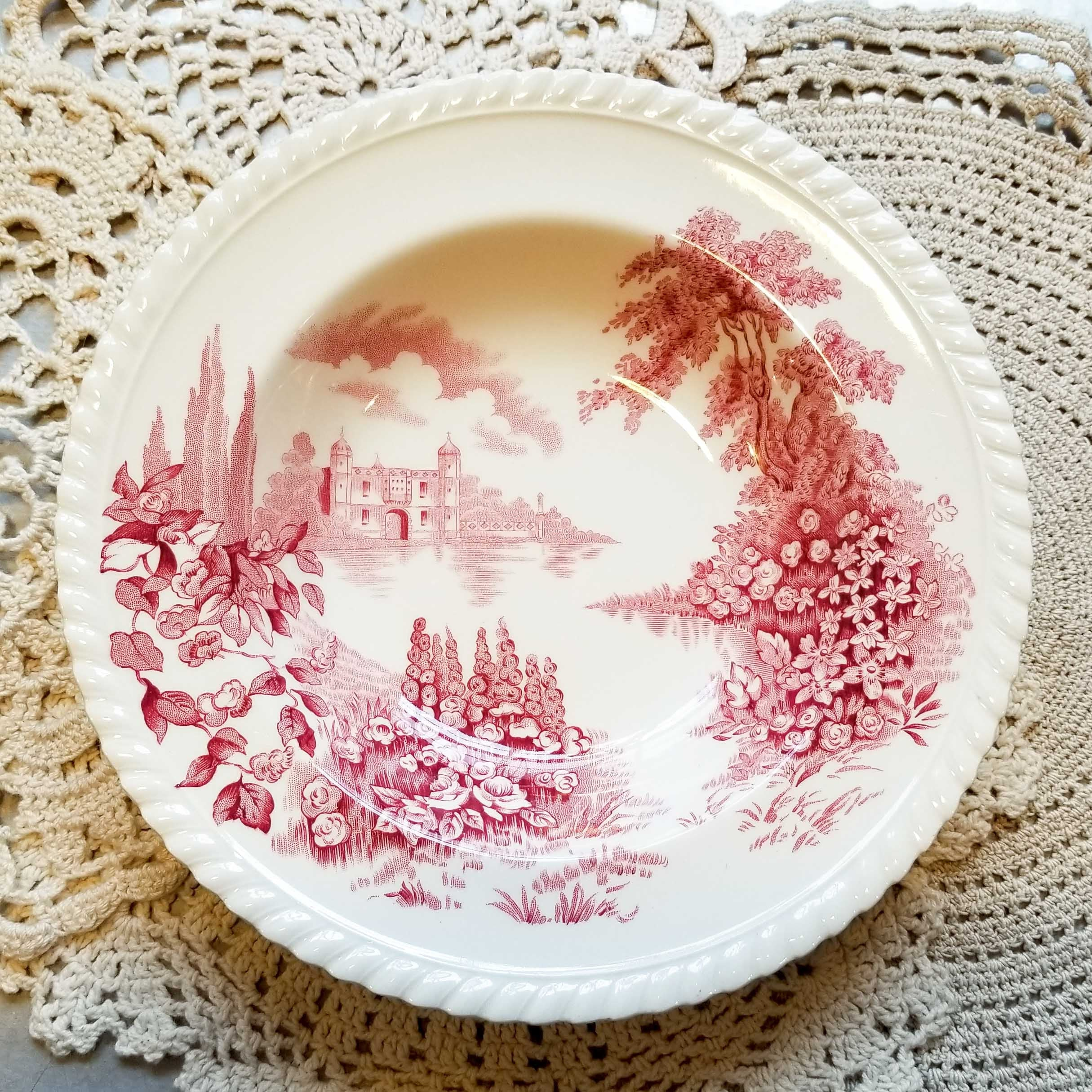 Vintage Castle on the Lake Red Pink by JOHNSON BROTHERS Rimmed Soup Bowl