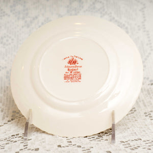 Vintage Dinner Plate Castle On The Lake Pink Red by JOHNSON BROTHERS