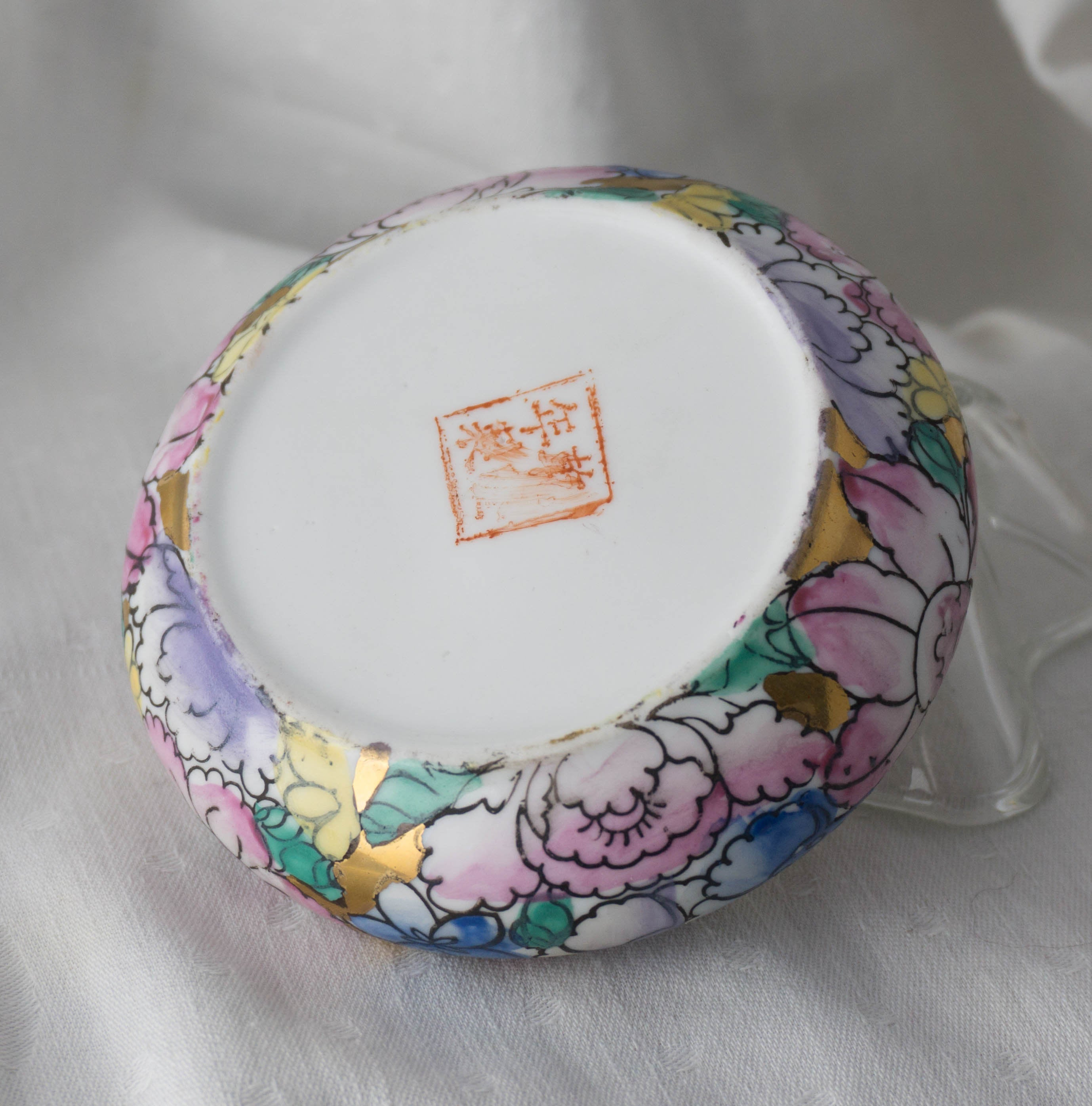 Gorgeous Vintage Hand Painted Open Roses and Peonies with Gold Accents Feminine Ashtray