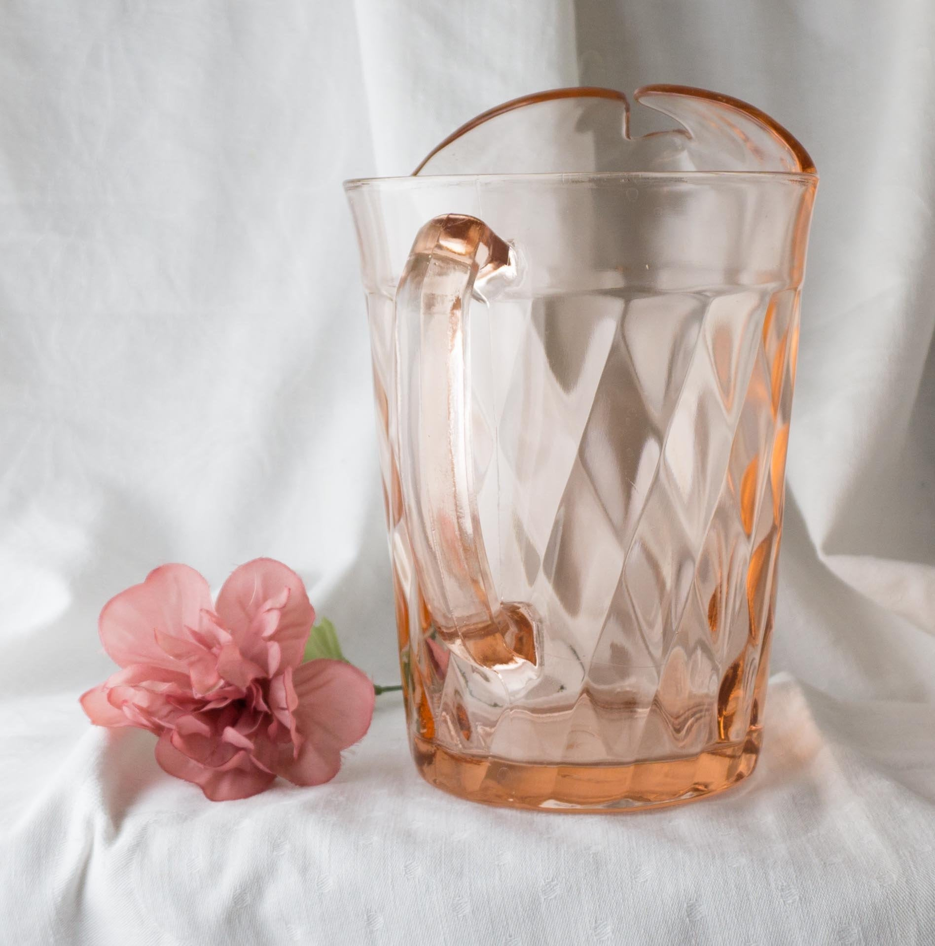 Vintage 54 Ounce Ice Lipped Glass Pitcher Diamond Optic Pink by HAZEL-ATLAS 1930s