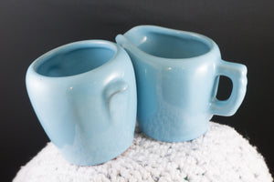 Vintage Frankoma Pottery Lazy Bones Sky Blue Cream and Sugar Set