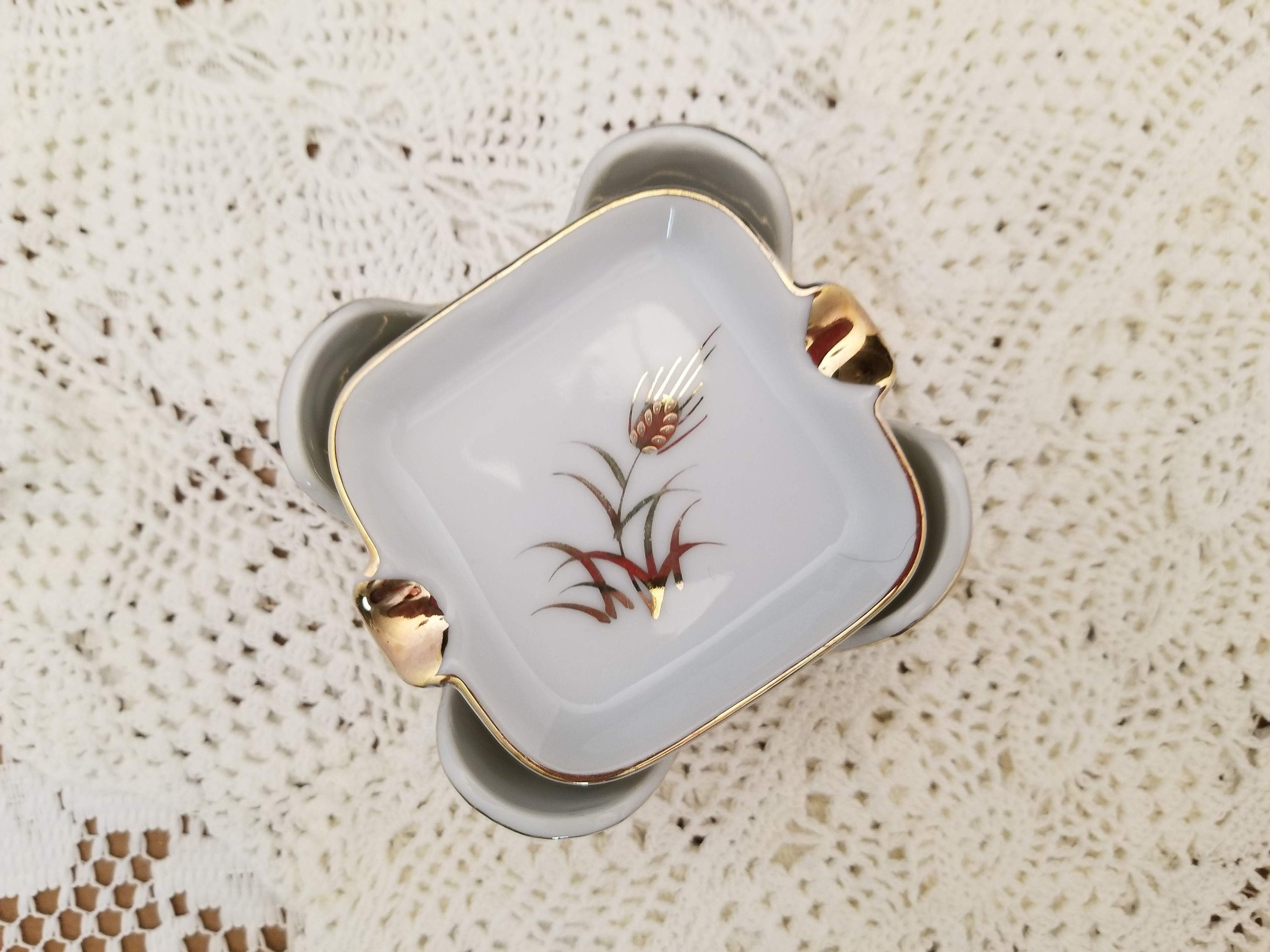 Stack of Lefton China Hand Painted Gold Wheat Vintage White Porcelain Ashtrays in a Holder