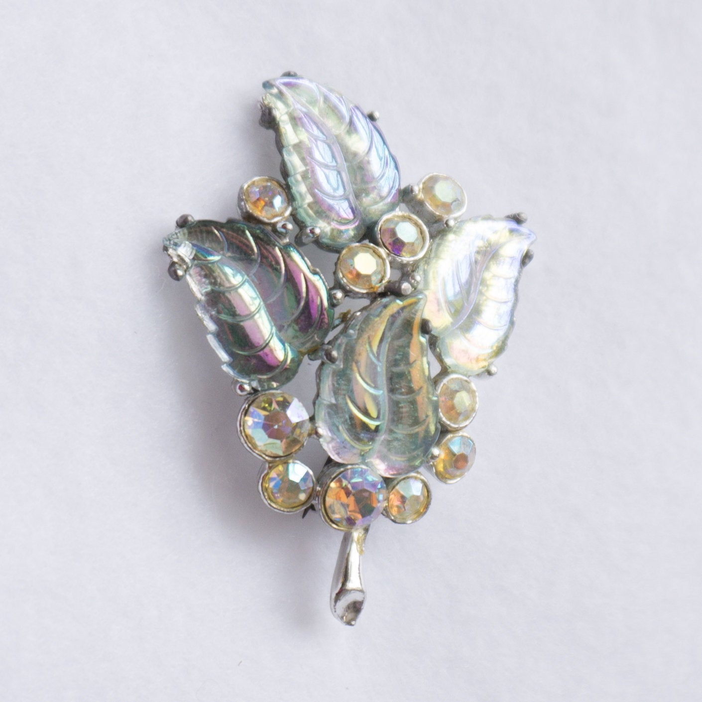 Vintage Iridescent Molded Glass  Leaves and Crystal Brooch Pin