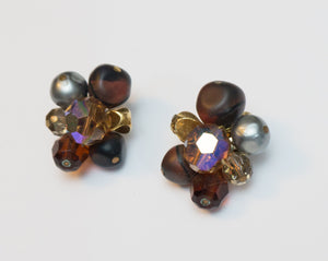 Vintage Signed Hattie Carnegie Brown Gold Amber Plum Beaded Clip Earrings