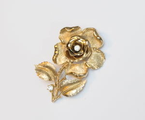 Vintage Signed Coro Large Textured Rose Casting with Rhinestones Brooch
