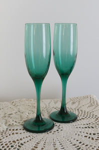Set of Six Premiere Dark Green by LIBBEY GLASS COMPANY Fluted Champagnes