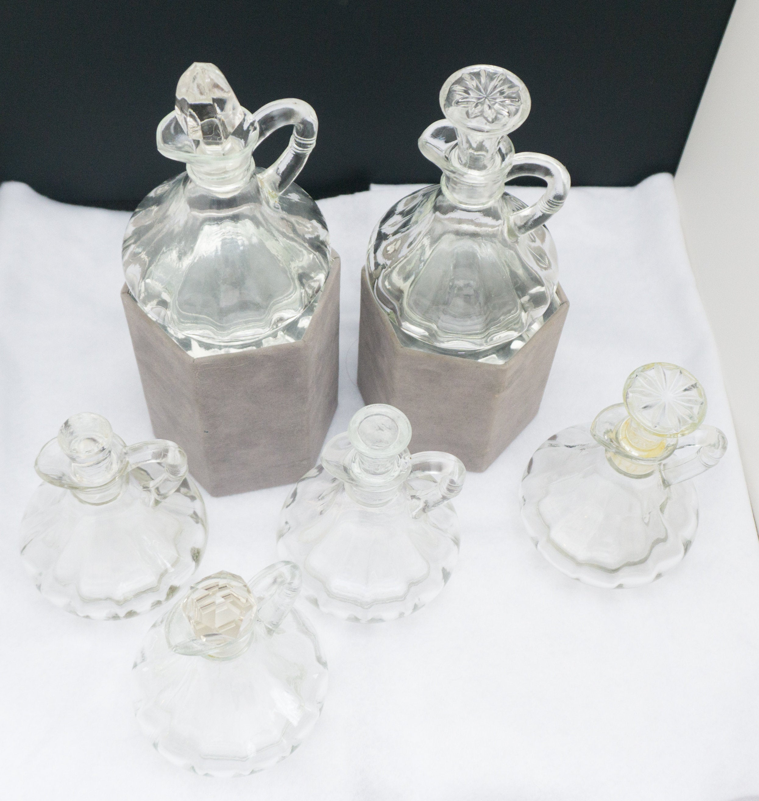 SIX Vintage Glass Cruet Olive Oil Dispenser Pitcher with Stoppers