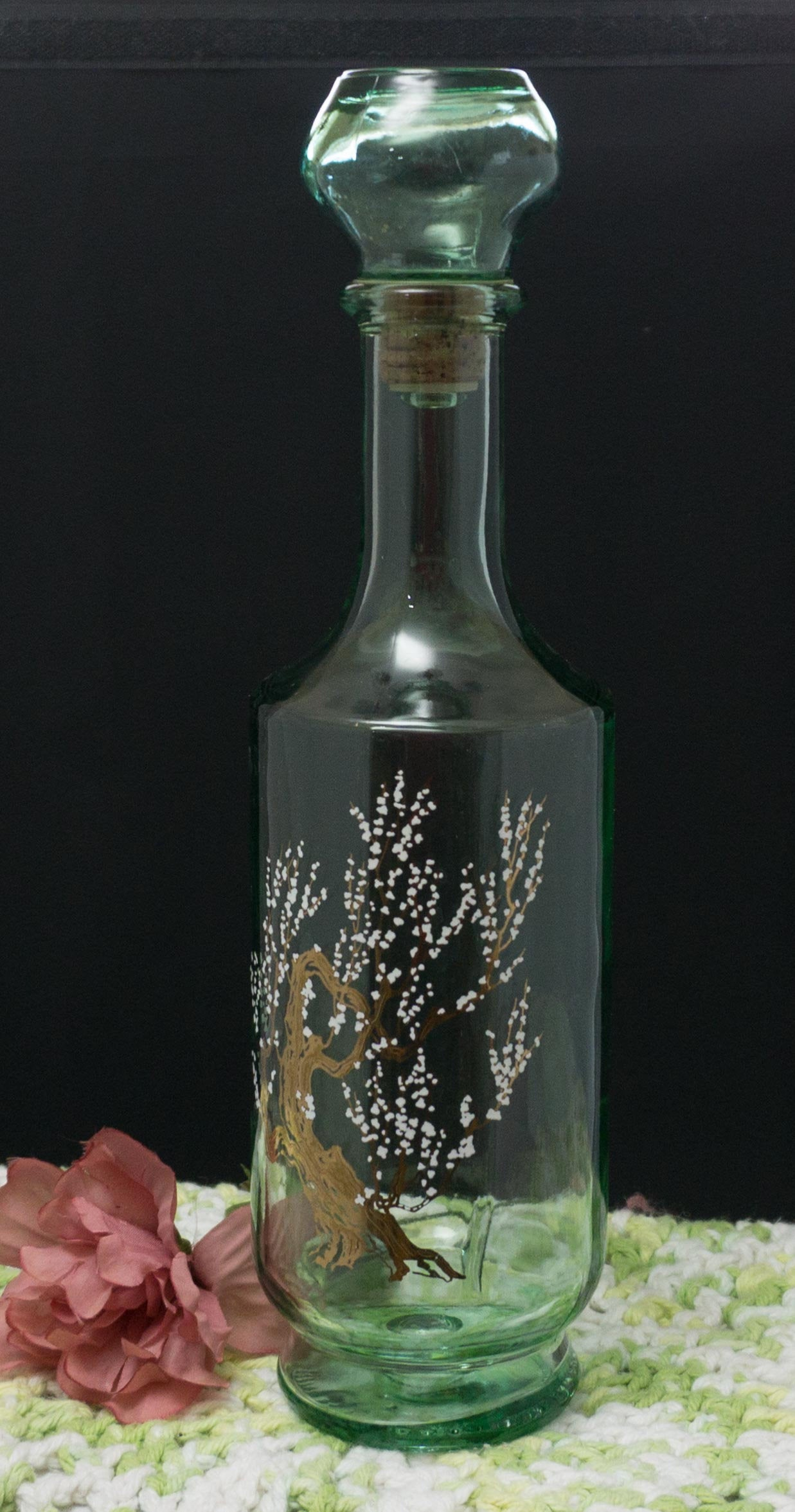 Gorgeous Vintage Heavy Green Liquor Decanter with Gold Gnarly Tree and White Flowers