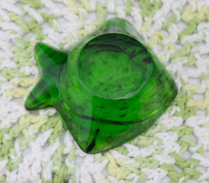 THREE Very Heavy Vintage Molded Green Glass Fish Paperwright Ashtrays