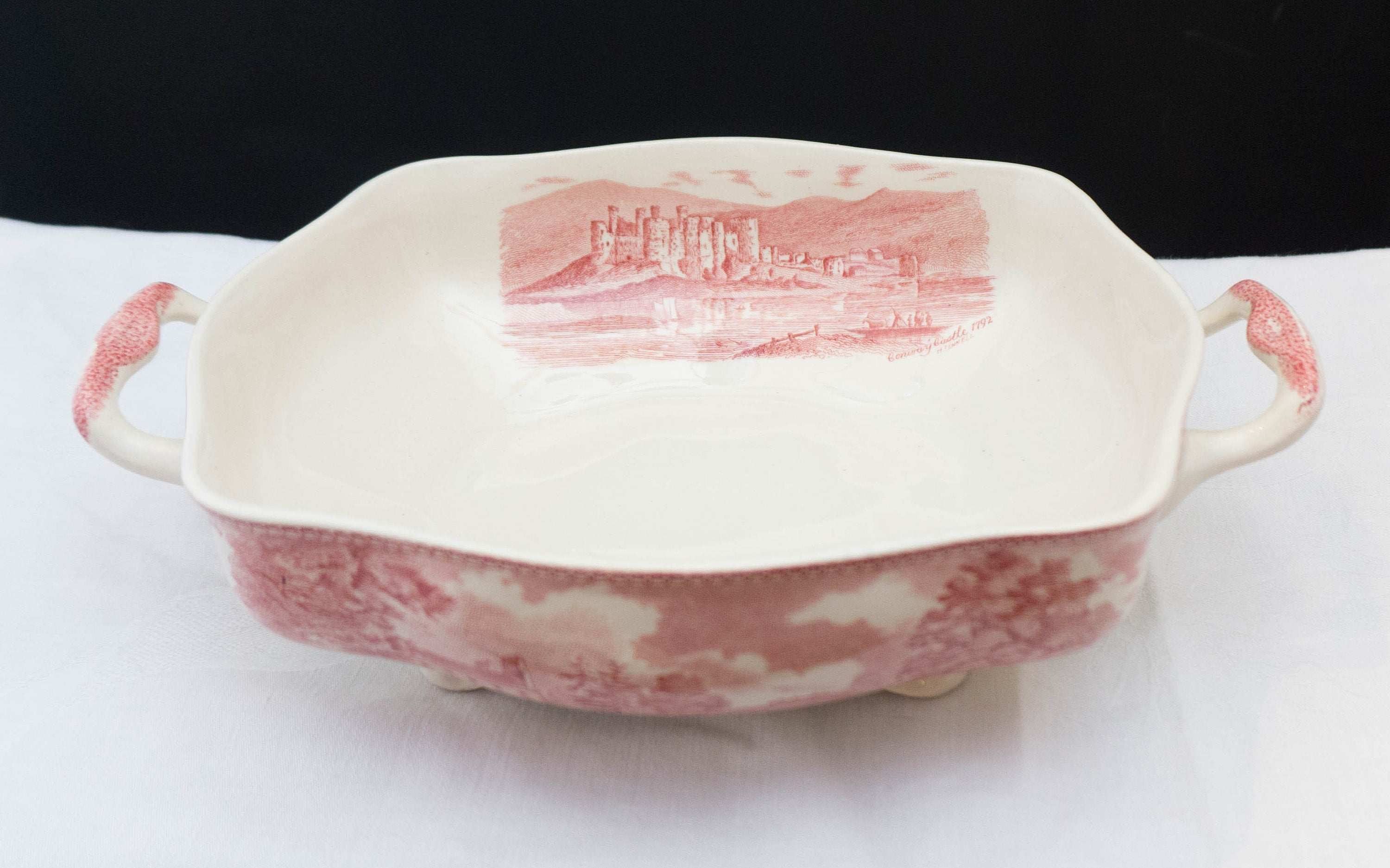 Vintage Square Vegetable No Lid Old Britain Castles Pink (Crown Made In England) by JOHNSON BROTHERS c1930