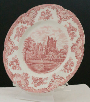 SEVEN Vintage Dinner Plates Old Britain Castles Pink (Crown Made In England) by JOHNSON BROTHERS