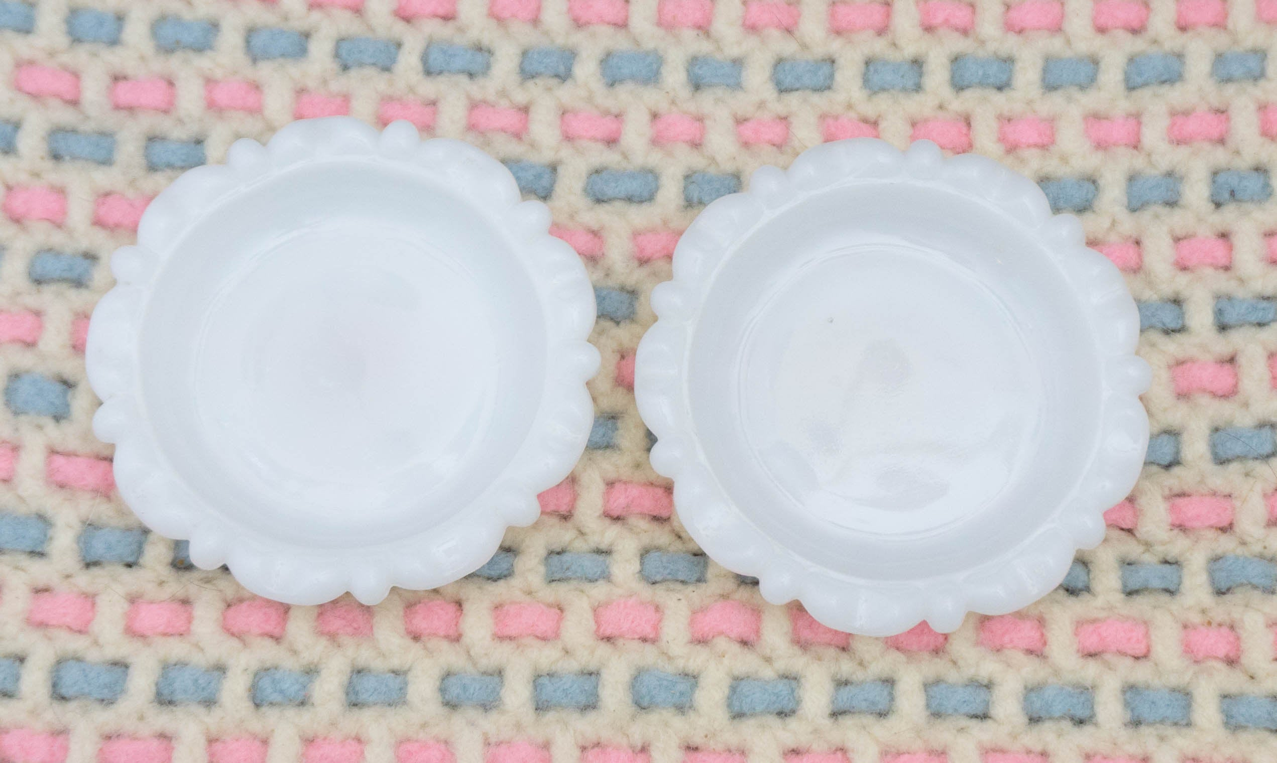 TWO Vintage Milk Glass Personal Size 1940s Ashtrays