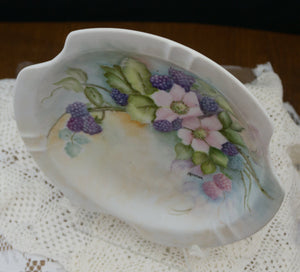 Large Hand Painted Black Raspberry Feminine Ceramic Ashtray