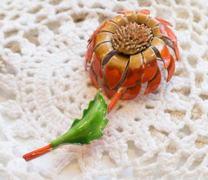 Mid Century Vintage Metal Orange Cone Flower Brooch
