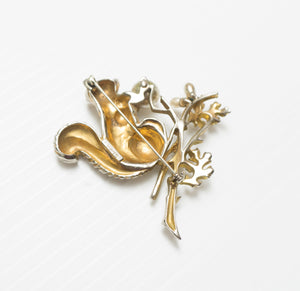 Vintage Signed STARET Rhinestone Faux Pearl Squirrel on a Branch Figural Brooch Pin